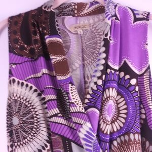 Magic Purple/Brown Abstract Floral Wrap Dress-Sz S